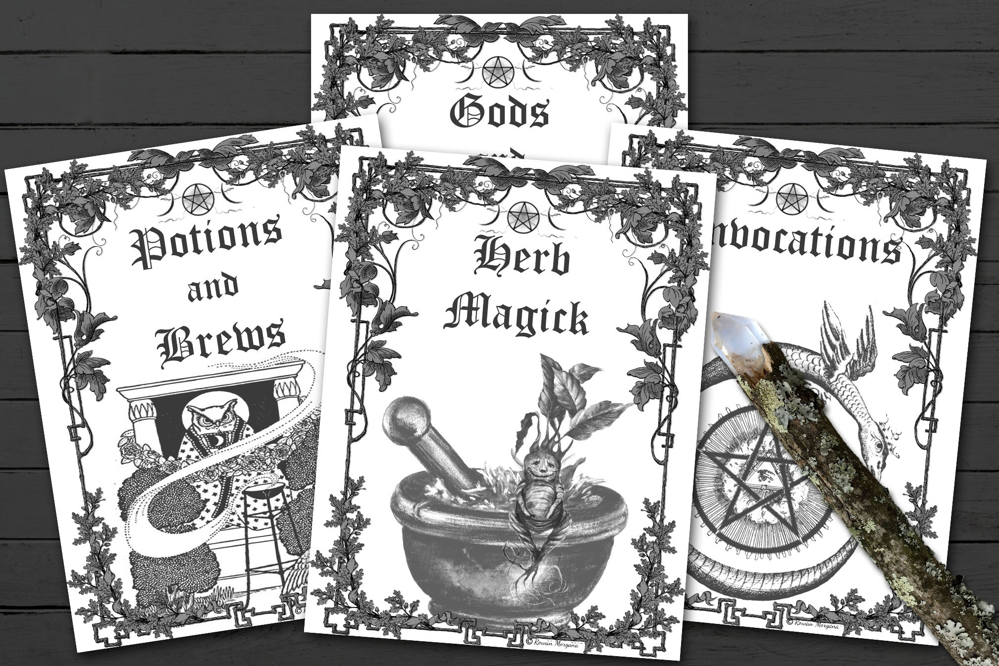 ALL 16 Book of Shadows TITLE PAGES  Black and White