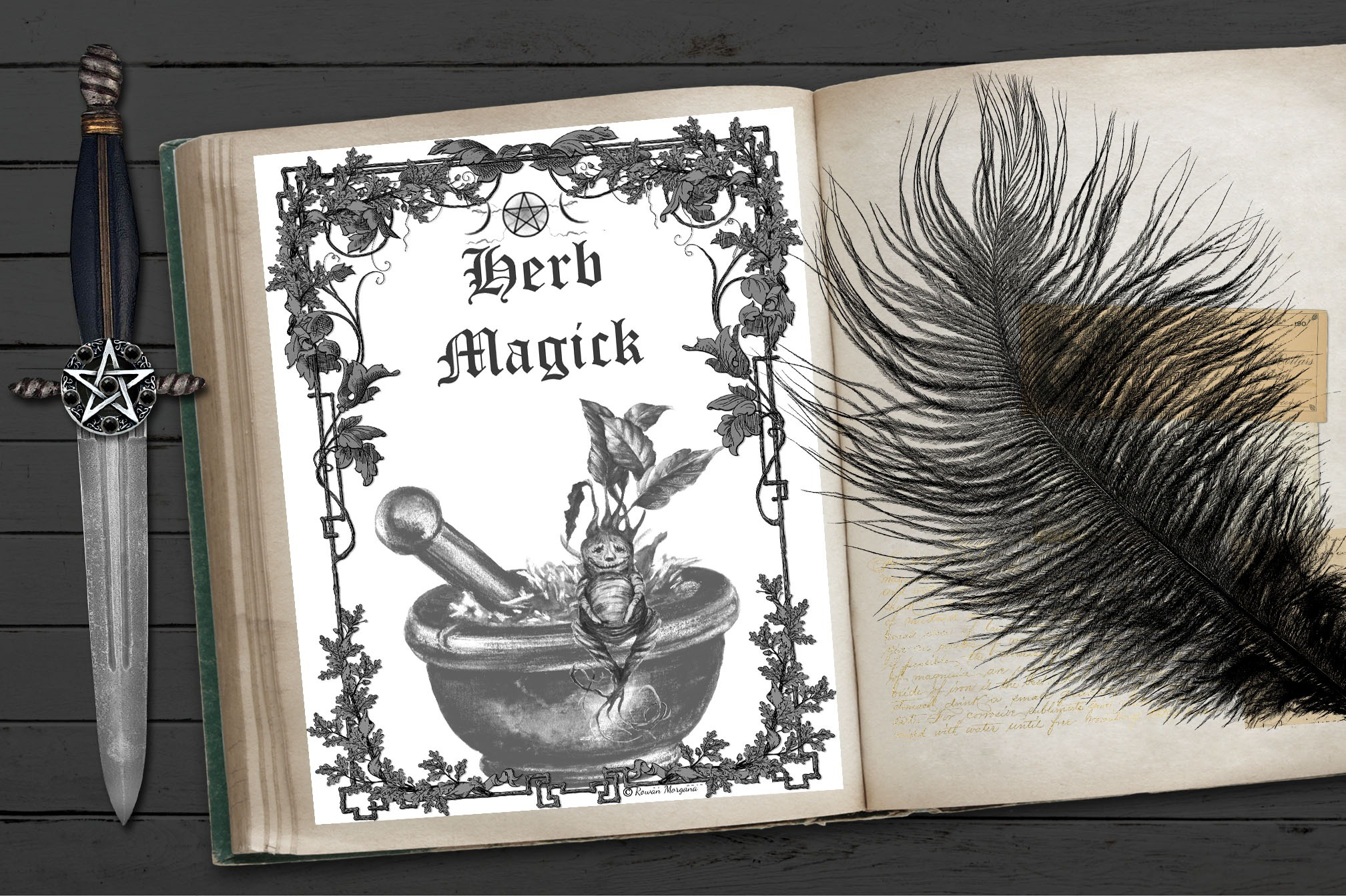 HERB MAGICK Book of Shadows Title Page
