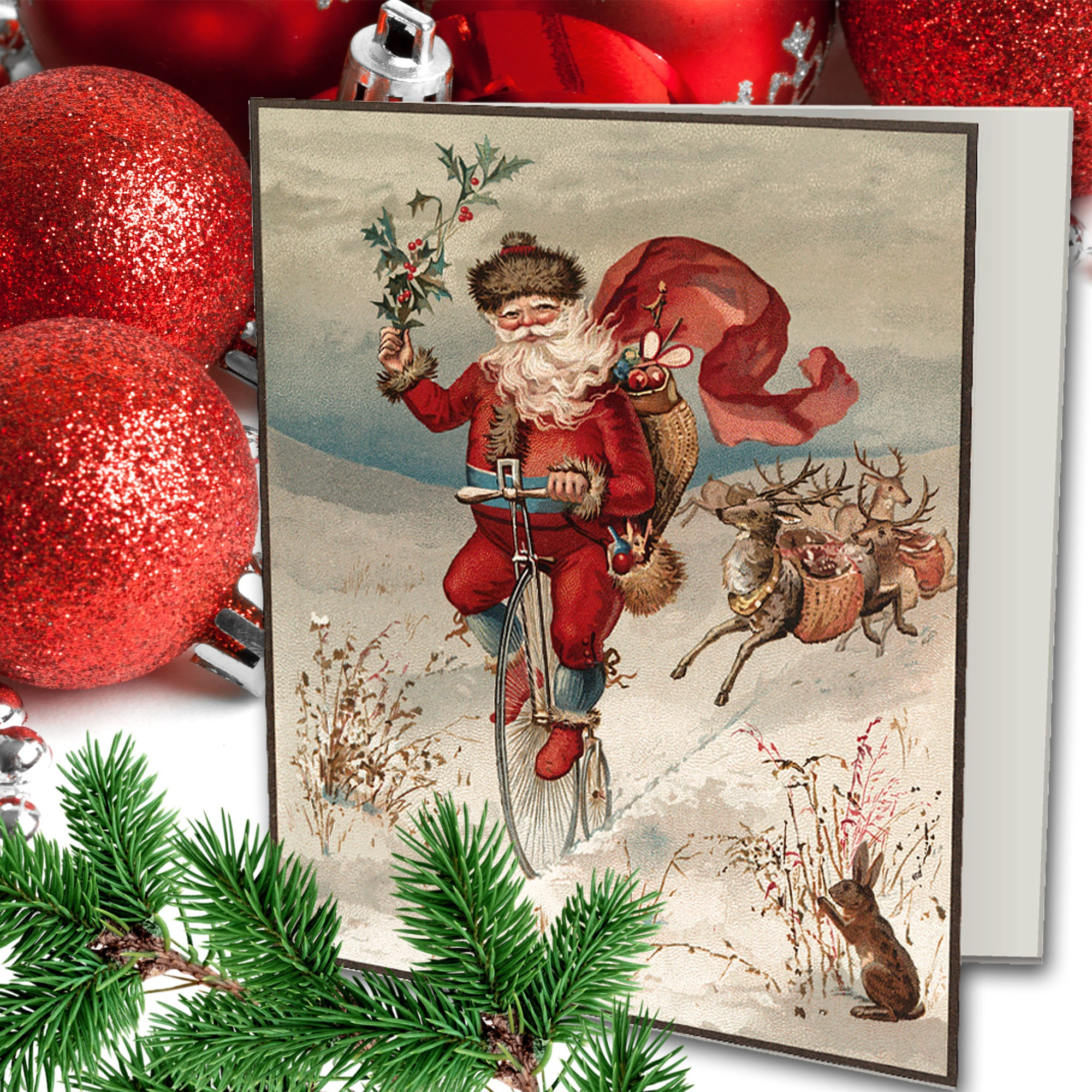VINTAGE SANTA Greeting Card - Instant download - print and enjoy