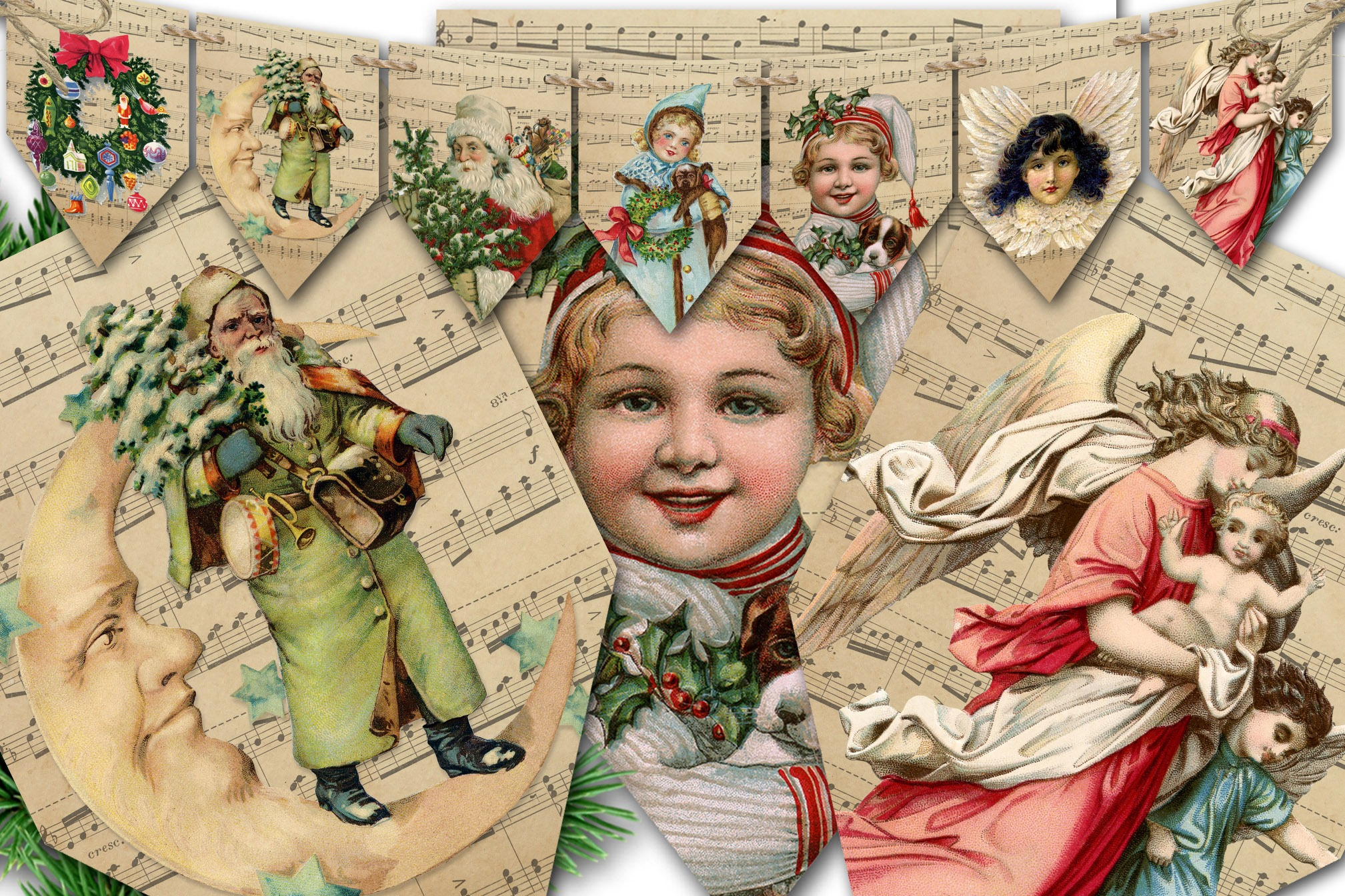 VINTAGE YULE BANNER  Printable Bunting  Decoration