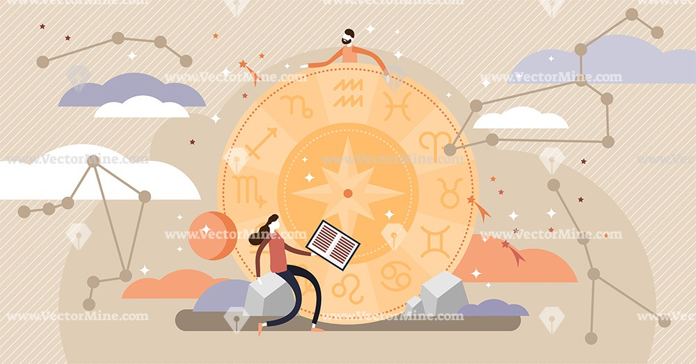 Astrology tiny persons concept vector illustration