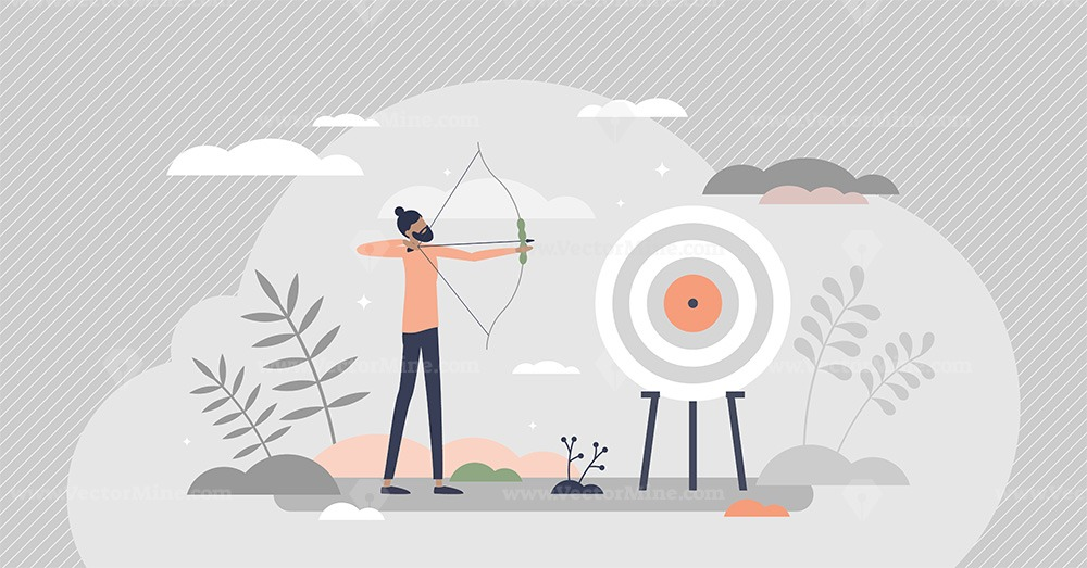 Archery as aim arrows accuracy sport and target reaching tiny person concept
