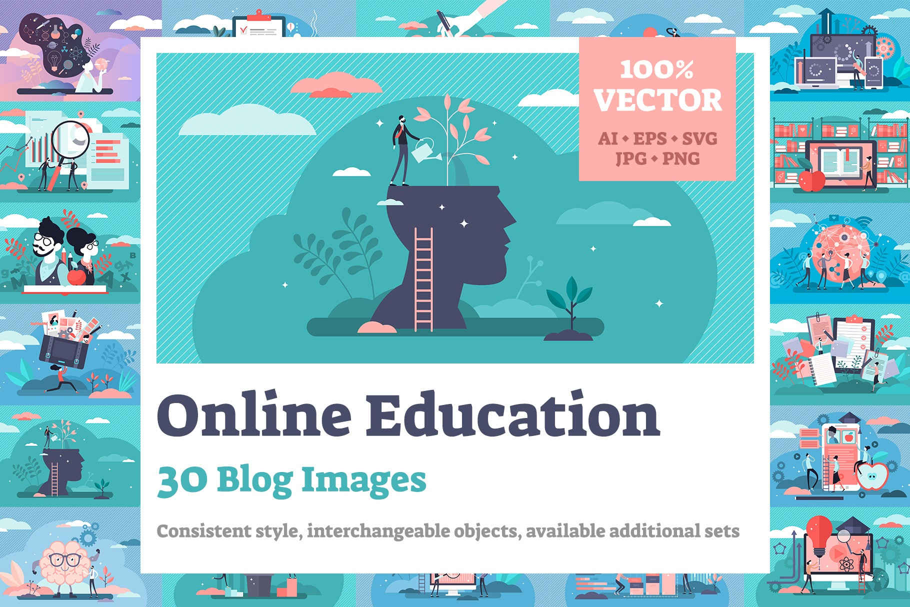 30 Online Education Vector Illustrations Bundle