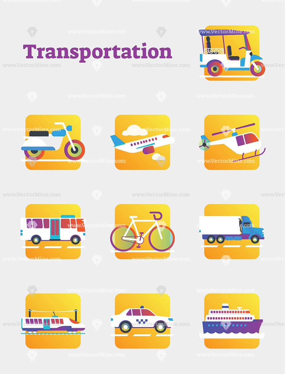 Free business and travel transportation vector icons collection