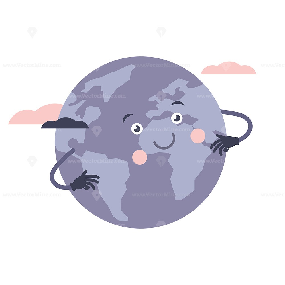 FREE earth cartoon character vector illustration