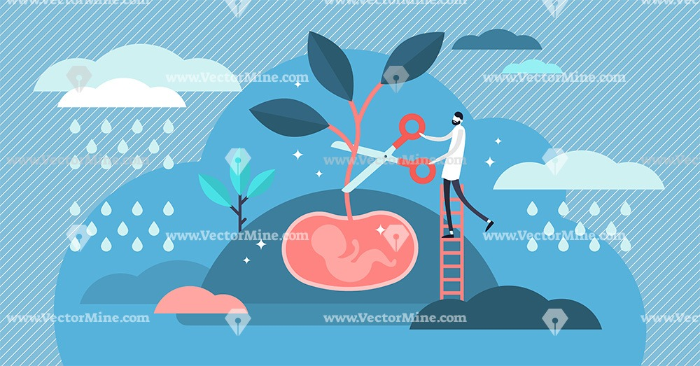 Abortion concept flat tiny person vector illustration
