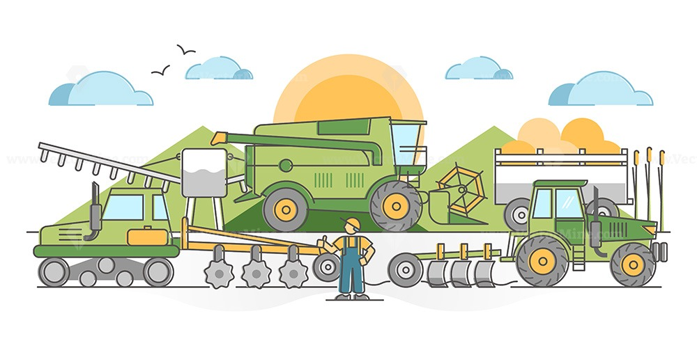 Agricultural machinery for agronomy farming field harvest outline concept