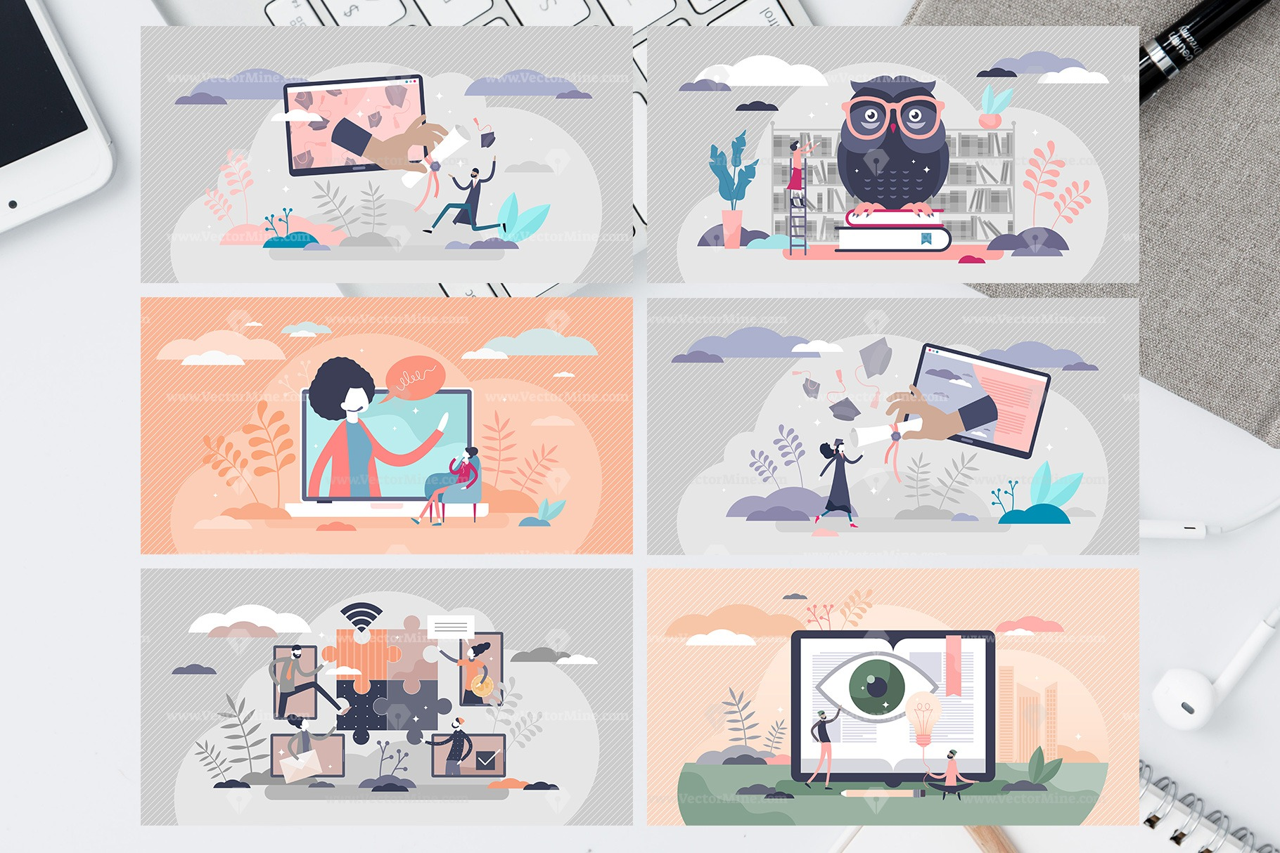 30 Online Education Vector Illustrations Bundle Vol2