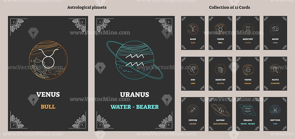 Astrological planets and zodiac sign symbols (2 color versions)