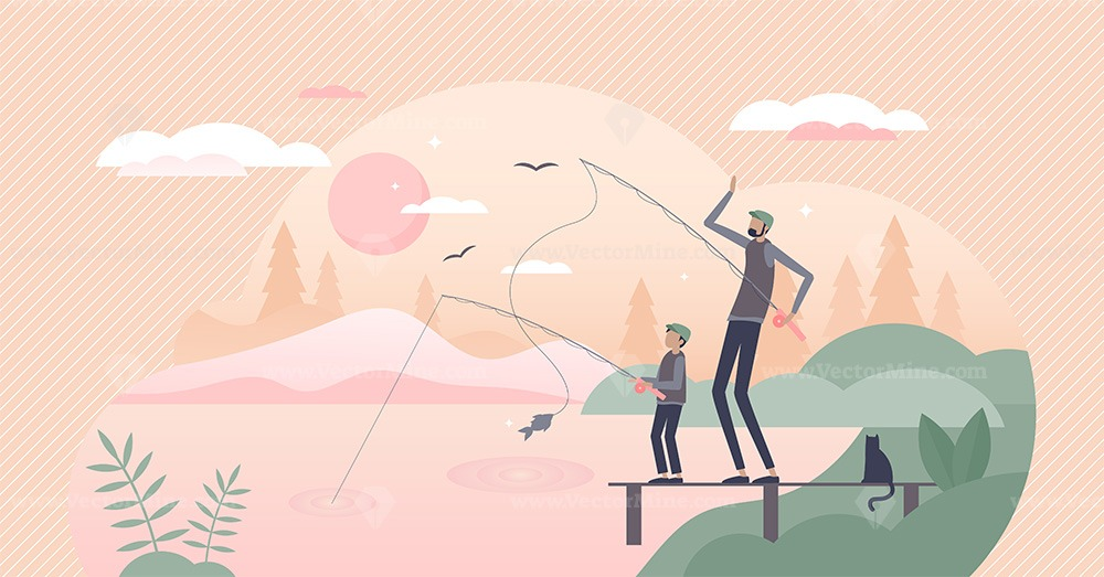 Fatherhood scene with father and son quality fishing time tiny person concept