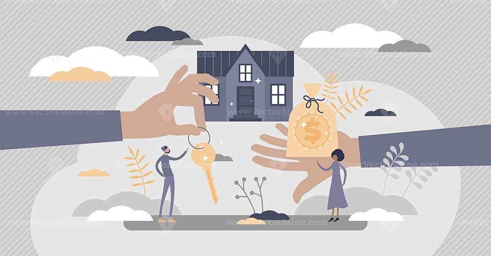 Mortgage as house property exchange for loan process tiny persons concept