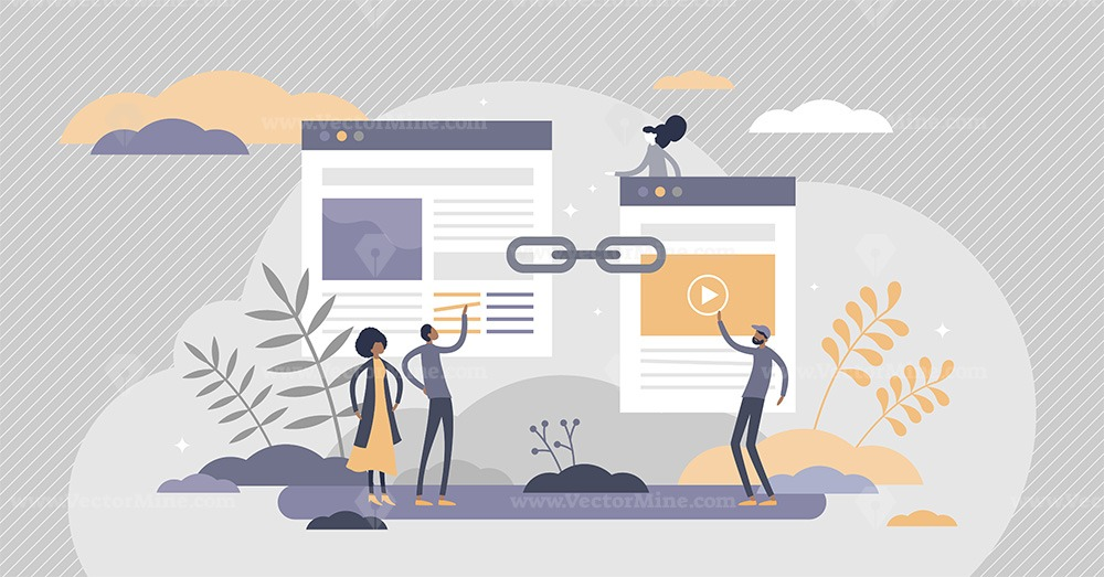 Link building as search engine optimization SEO method tiny persons concept