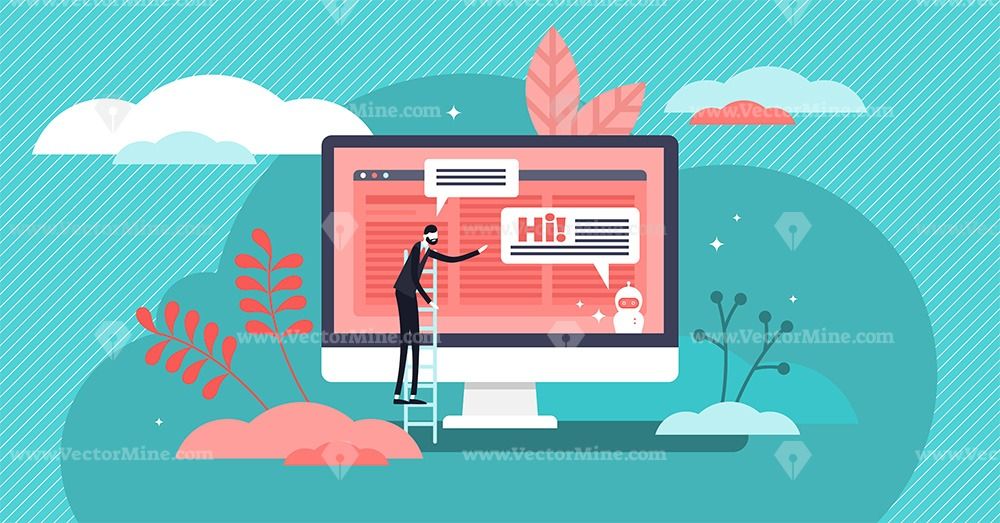 Homepage chatbot concept vector illustration