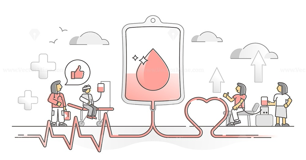 Blood donation volunteer and patient help support monocolor outline concept