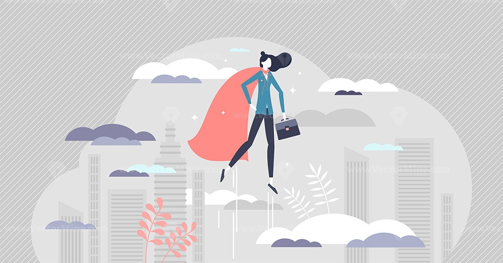 Business woman superhero as powerful female leader job tiny person concept