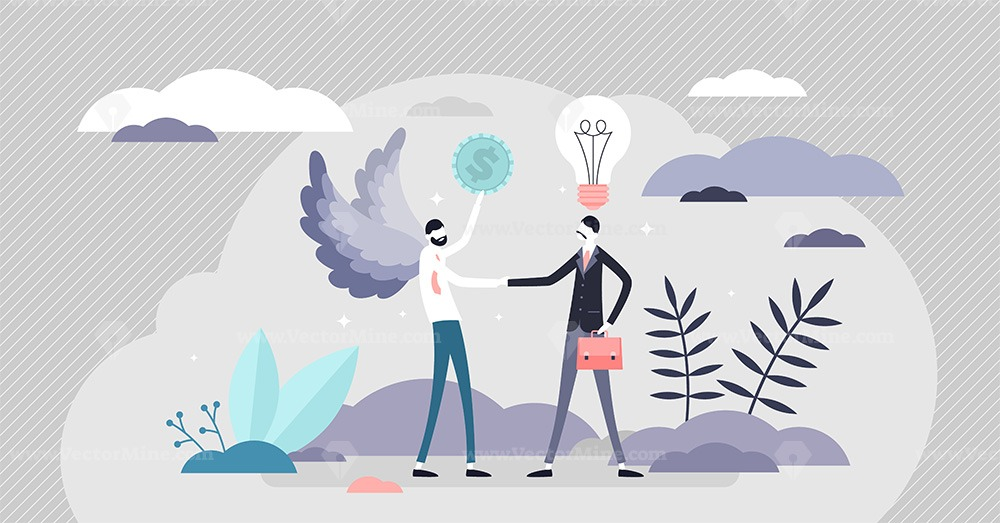 Angel money investor in business vector illustration tiny persons concept