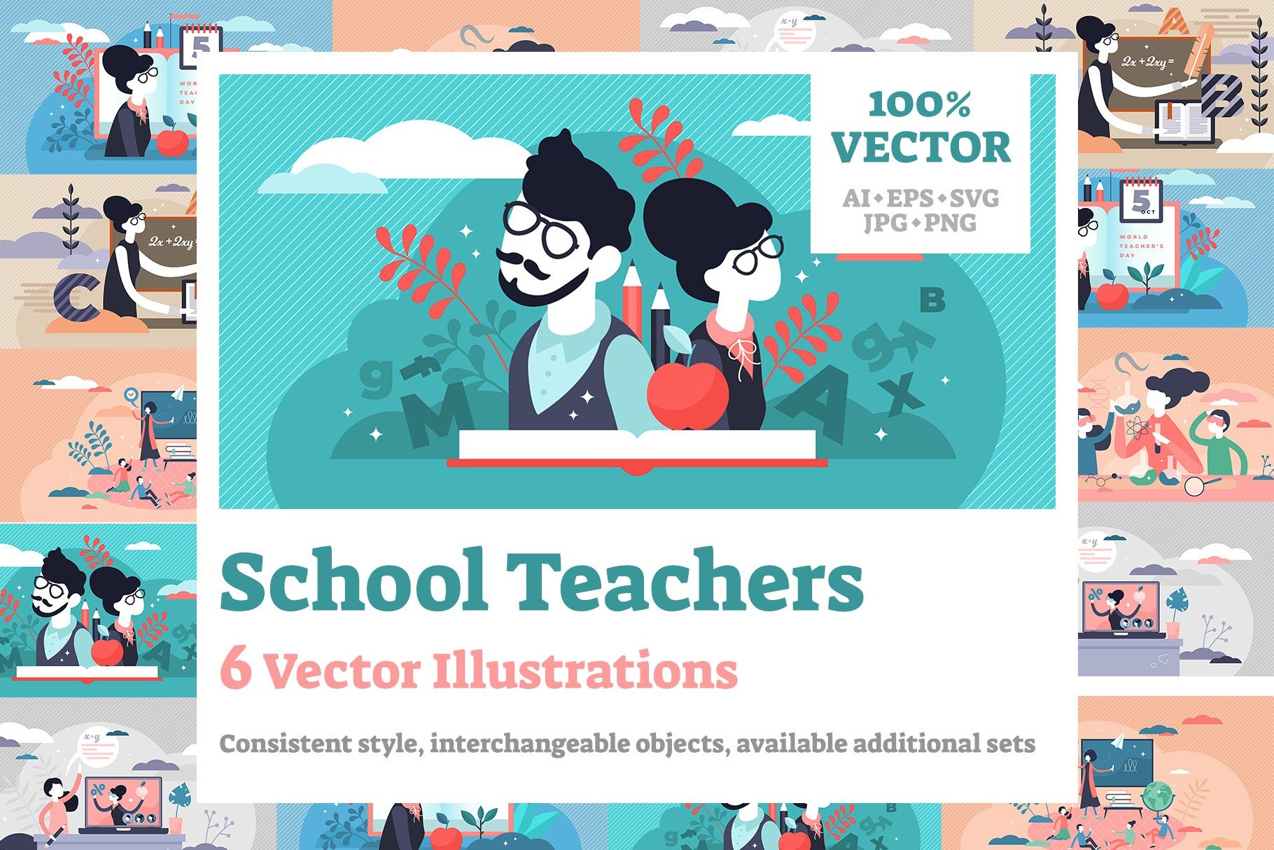 6 School Teacher Vector Illustrations Bundle