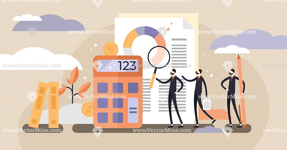 Audit tiny persons concept vector illustration