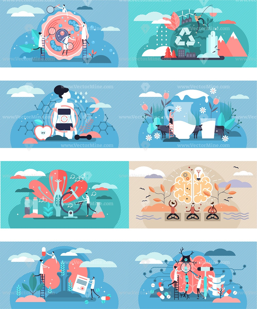 Health concepts illustration bundle (94 vector illustrations)
