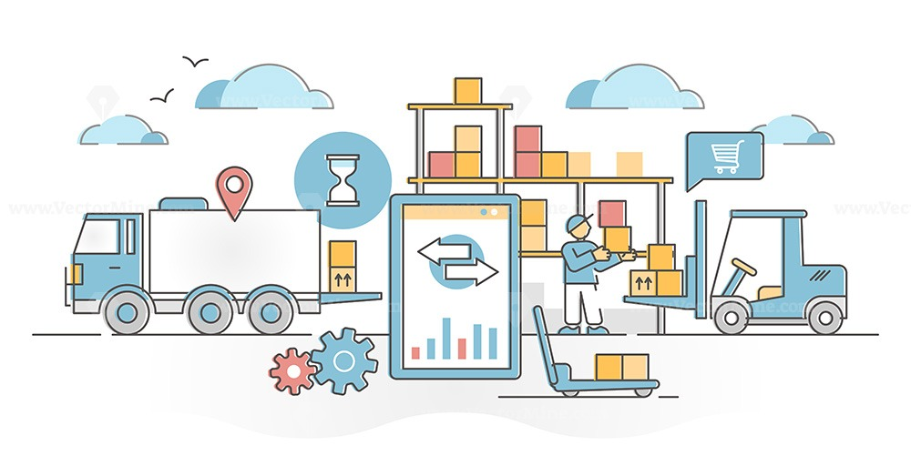 Inventory management work with logistics in goods warehouse outline concept