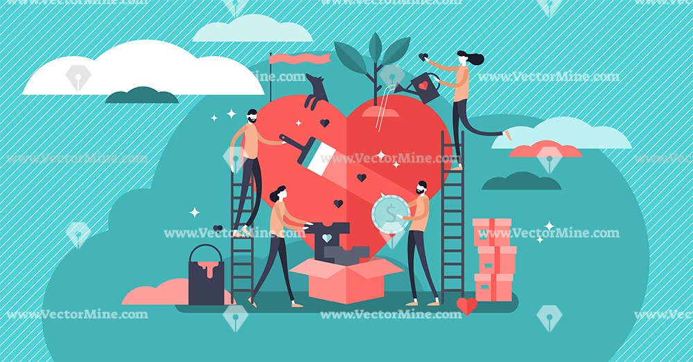 Volunteering and charity concept vector illustration