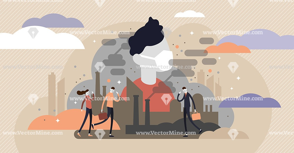 Urban air pollution tiny persons concept vector illustration