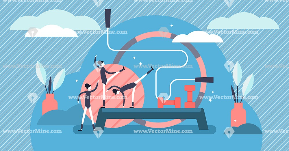 Aerobics body training tiny persons concept vector illustration