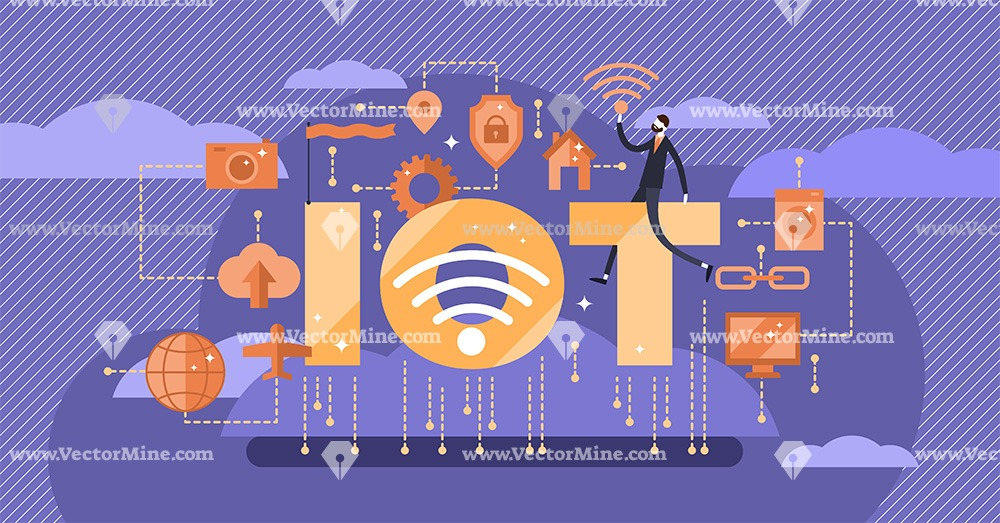 IOT - Internet of things tiny person concept vector illustration