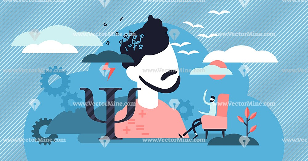 Psychology session tiny person concept vector illustration