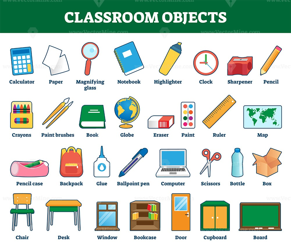 Classroom objects vector illustration. Labeled collection for kids learning