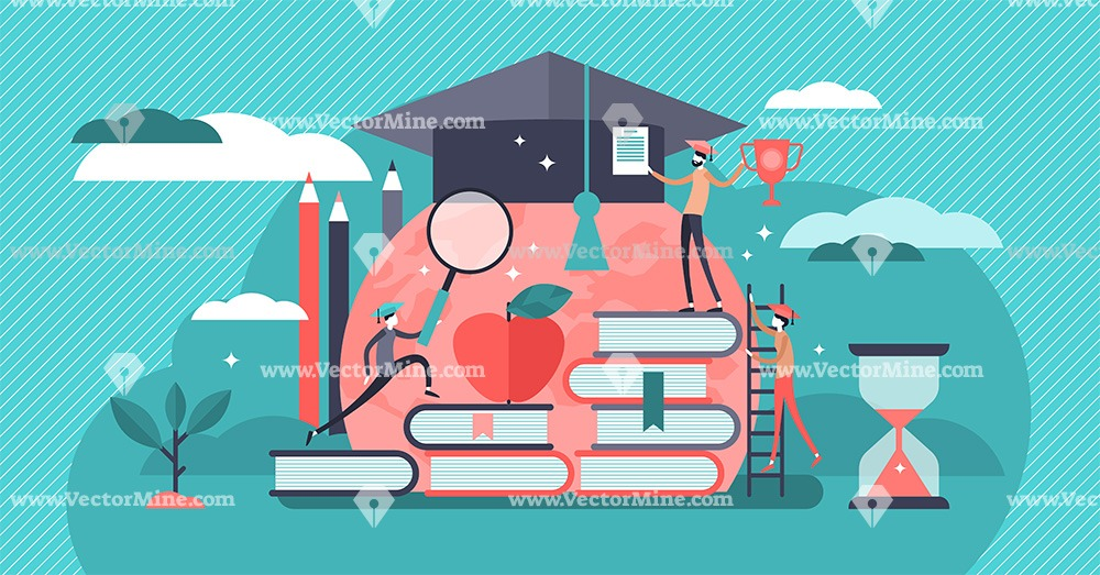 Education concept tiny persons vector illustration