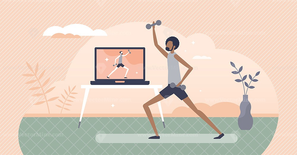 Virtual fitness as distant workout and sport activity tiny person concept