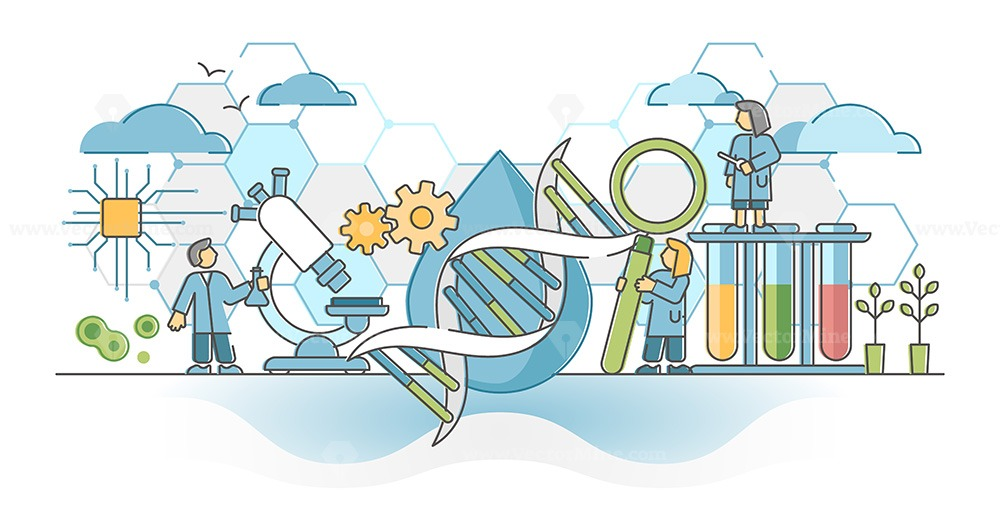 Biotechnology or biotech DNA research as genetic science outline concept