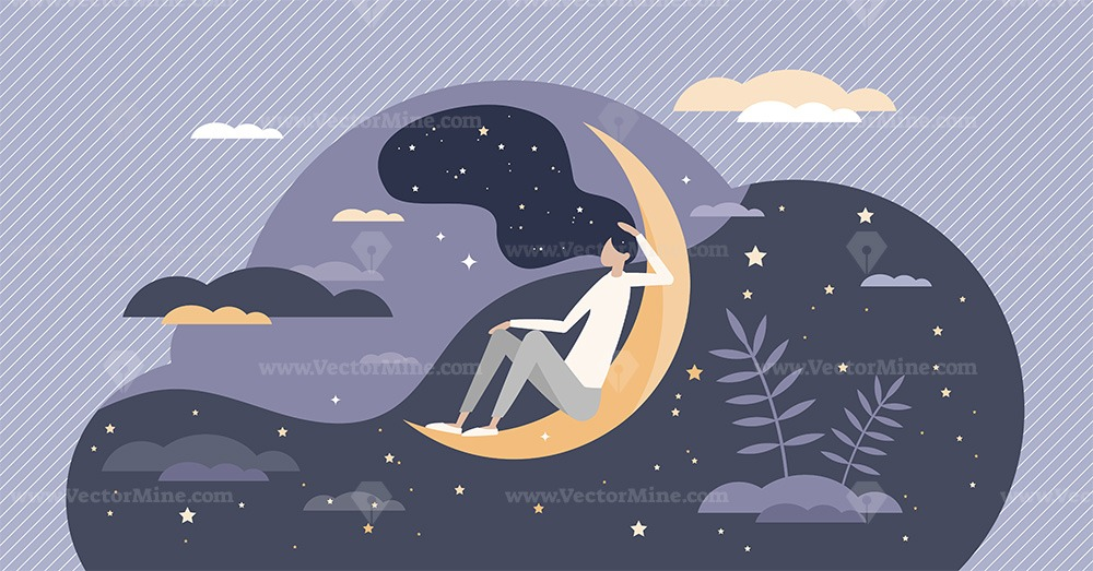 Good sleep at night moon with deep and healthy dreams tiny person concept