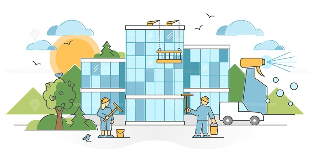 Window cleaning company with glass wall washing service scene outline concept