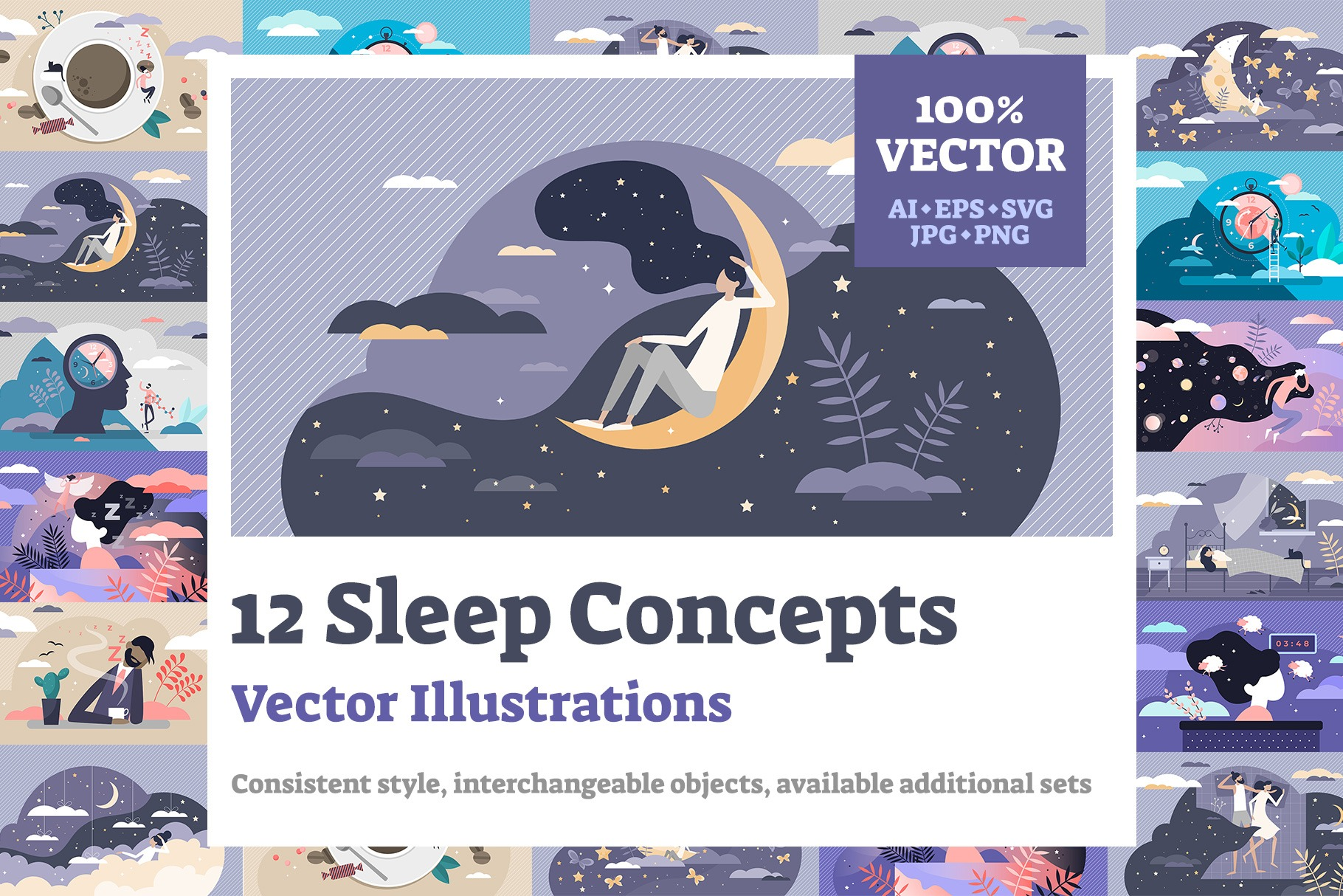 12 Healthy Sleep Illustrations Bundle