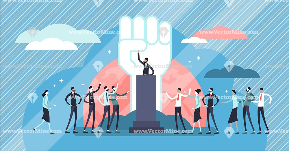 Political populism tiny persons concept vector illustration