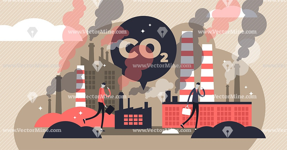CO2 emissions tiny persons concept vector illustration
