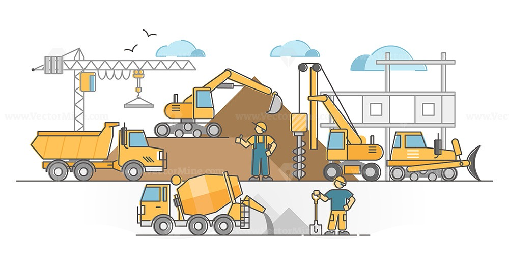 Heavy machinery as construction site duty executing vehicles outline concept