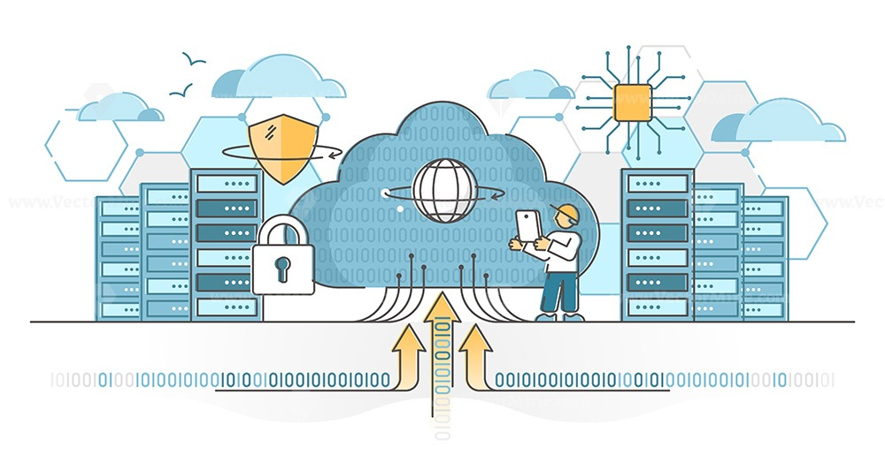 Data center servers for cloud hosting and storage service outline concept