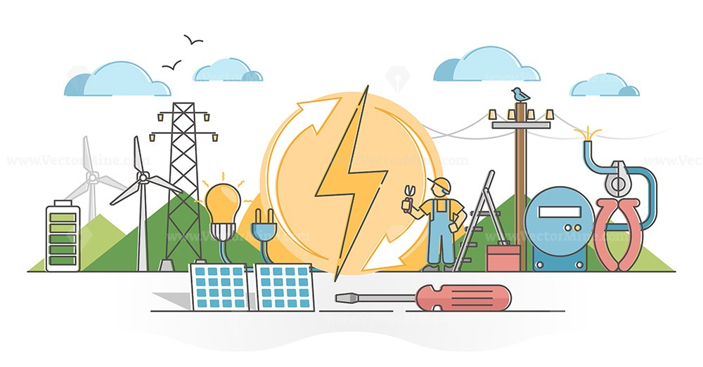 Electricity as wind and solar energy power voltage supply outline concept