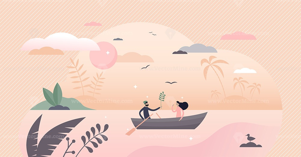 Couple in boat vector illustration
