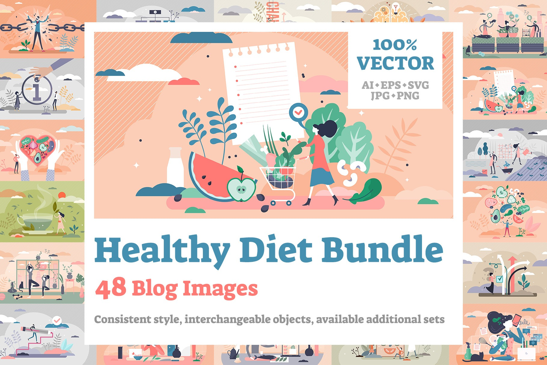 48 Healthy Diet Vector Illustrations Bundle V2