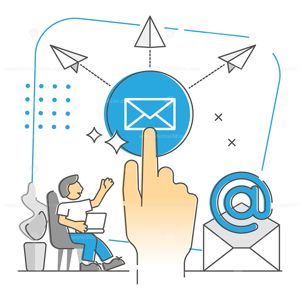 Sending e-mails as global widespread messaging monocolor outline concept