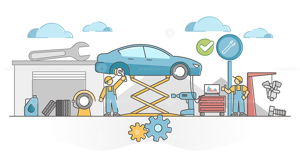 Car service work for vehicles mechanic maintenance and fix outline concept