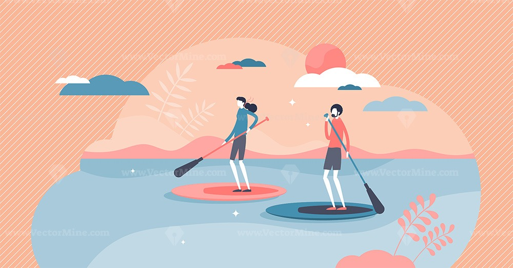 Suping or standing paddleboarding water sport adventure tiny person concept
