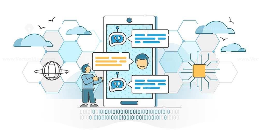 Chatbot virtual conversation with online robot answer service outline concept