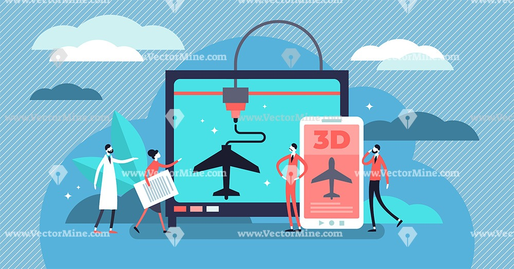 Plastic 3D printing concept, flat tiny persons vector illustration