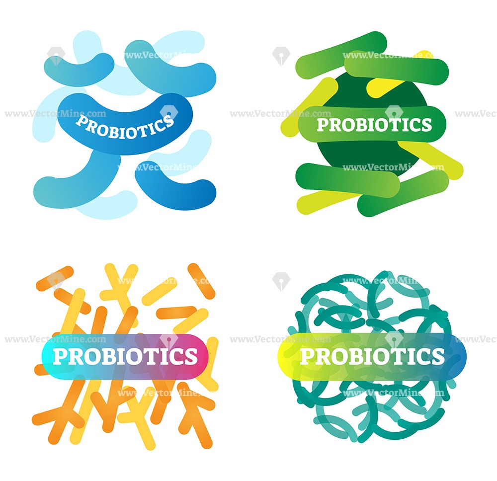 Free colorful probiotics vector logo icons collection
