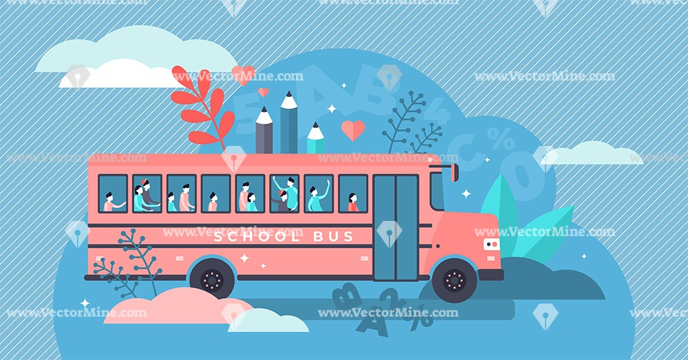 School bus concept, flat tiny persons vector illustration